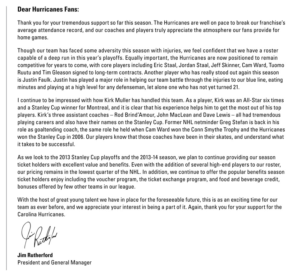 Jim Rutherford's letter
