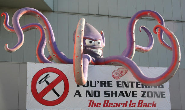 DETROIT - APRIL 16:  The octopus outside Joe Louis Arena prior to the Columbus Blue Jackets facing the Detroit Red Wings during Game One of the Western Conference Quarterfinals of the 2009 Stanley Cup Playoffs on April 16, 2009 at Joe Louis Arena in Detroit, Michigan.  (Photo by Dave Sandford/Getty Images)
