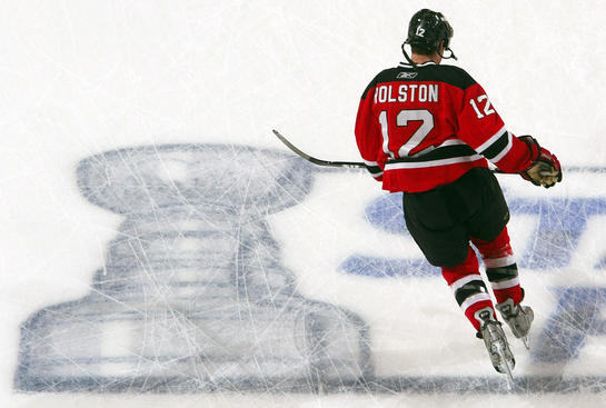 NEWARK, NJ - APRIL 23:  Brian Rolston #14 of the New Jersey Devils warms up before playing the Carolina Hurricanes during Game Five of the Eastern Conference Quarterfinal Round of the 2009 NHL Stanley Cup Playoffs on April 23, 2009 at the Prudential Center in Newark, New Jersey.  (Photo by Jim McIsaac/Getty Images)