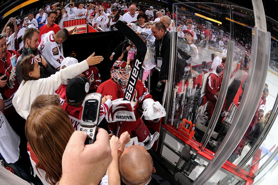 GLENDALE, AZ - APRIL 16: Martin Hanzal #11 of the Phoenix Coyotes walks out onto the ice past fans for warm ups to Game Two of the Western Conference Quarterfinals against the Detroit Red Wings during the 2010 NHL Stanley Cup Playoffs at Jobing.com Arena on April 16, 2010 in Glendale, Arizona. (Photo by Christian Petersen/Getty Images)