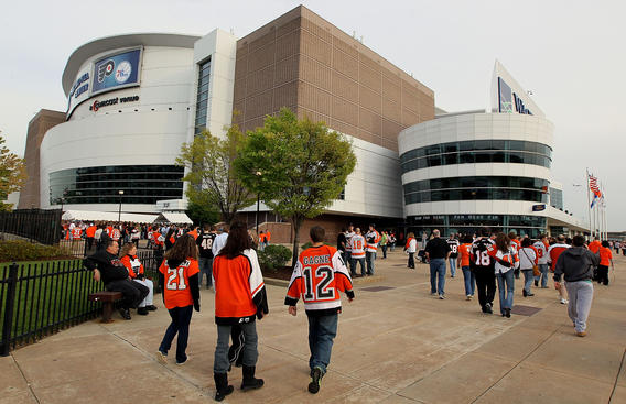 PHILADELPHIA - APRIL 20: Fans arrive before the the Philadelphia Flyers play the New Jersey Devils in Game Four of the Eastern Conference Quarterfinals during the 2010 NHL Stanley Cup Playoffs at the Wachovia Center on April 20, 2010 in Philadelphia, Pennsylvania. (Photo by Jim McIsaac/Getty Images)