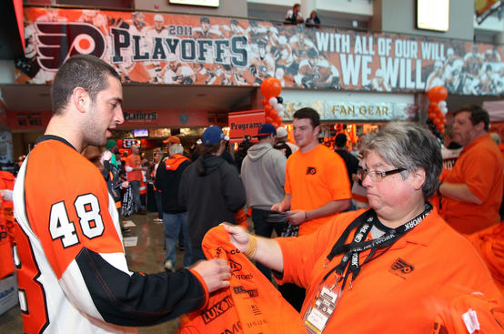PHILADELPHIA , PA - APRIL 16: Fans enter the arena for the game between the Philadelphia Flyers and the Buffalo Sabres in Game Two of the Eastern Conference Quarterfinals during the 2011 NHL Stanley Cup Playoffs at the Wells Fargo Center on April 16, 2011 in Philadelphia, Pennsylvania. (Photo by Len Redkoles/NHLI via Getty Images)