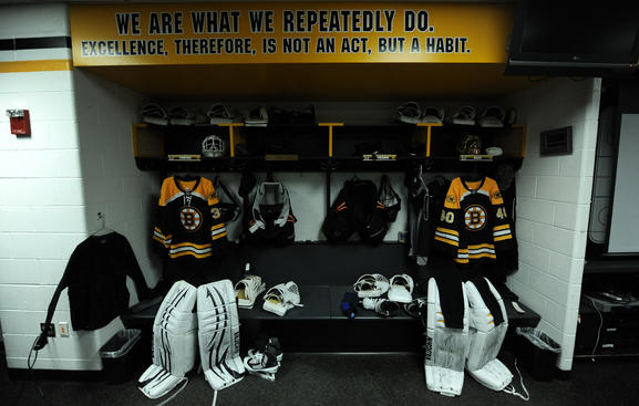 BOSTON, MA -MAY 14: Locker room area set up for Tuukka Rask #40 and Tim Thomas #30 of the Boston Bruins before the game against the Tampa Bay Lightning in Game One of the Eastern Conference Finals during the 2011 NHL Stanley Cup Playoffs at TD Garden on May 14, 2011 in Boston, Massachusetts. (Photo by Steve Babineau/NHLI via Getty Images)