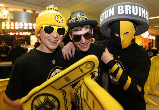 BOSTON, MA - MAY 17: Young Boston Bruins fans pose prior to Game Two of the Eastern Conference Finals against the Tampa Bay Lightning during the 2011 NHL Stanley Cup Playoffs at TD Garden on May 17, 2011 in Boston, Massachusetts. (Photo by Jim Rogash/Getty Images)