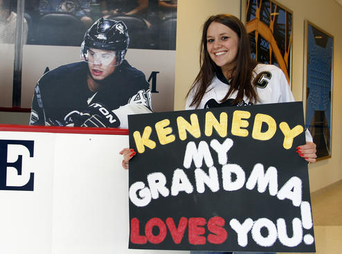 PITTSBURGH, PA - APRIL 11:  A Penguins fan poses with a cut out of Tyler Kennedy #48 of the Pittsburgh Penguins before Game One of the Eastern Conference Quarterfinals between the Pittsburgh Penguins and the Philadelphia Flyers during the 2012 NHL Stanley Cup Playoffs at Consol Energy Center on April 11, 2012 in Pittsburgh, Pennsylvania.  (Photo by Justin K. Aller/Getty Images)