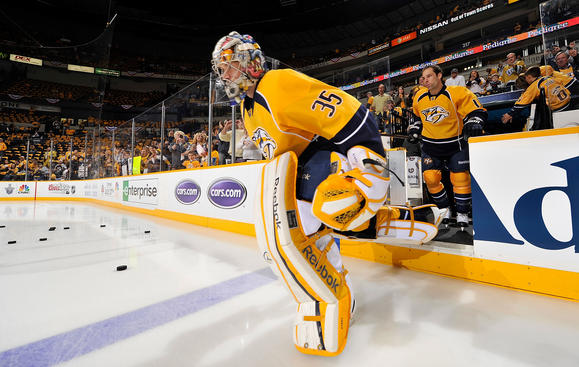 NASHVILLE, TN - APRIL 11: Pekka Rinne #35 of the Nashville Predators leads the team on the ice for warmups against the Detroit Red Wings in Game One of the Western Conference Quarterfinals during the 2012 NHL Stanley Cup Playoffs at the Bridgestone Arena on April 11, 2012 in Nashville, Tennessee. (Photo by John Russell/NHLI via Getty Images)