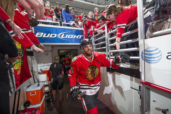 CHICAGO, IL - APRIL 23:  Viktor Stalberg #25 of the Chicago Blackhawks walks out to the ice prior to Game Six of the Western Conference Quarterfinals against the Phoenix Coyotes during the 2012 NHL Stanley Cup Playoffs at the United Center on April 23, 2012 in Chicago, Illinois. (Photo by Bill Smith/NHLI via Getty Images)