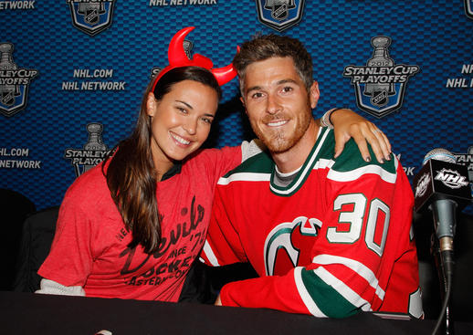 NEWARK, NJ - MAY 21: Actor Dave Annable and his actress wife Odette pose for a photo prior to the game between the New York Rangers and the New Jersey Devils in Game Four of the Eastern Conference Final during the 2012 NHL Stanley Cup Playoffs at the Prudential Center on May 21, 2012 in Newark, New Jersey. (Photo by Andy Marlin/NHLI via Getty Images)