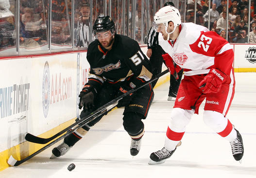 ANAHEIM, CA - MAY 8:  Brian Lashoff #23 of the Detroit Red Wings battles for the puck against Kyle Palmieri #51 of the Anaheim Ducks in Game Five of the Western Conference Quarterfinals during the 2013 NHL Stanley Cup Playoffs at Honda Center on May 8, 2013 in Anaheim, California. (Photo by Debora Robinson/NHLI via Getty Images)