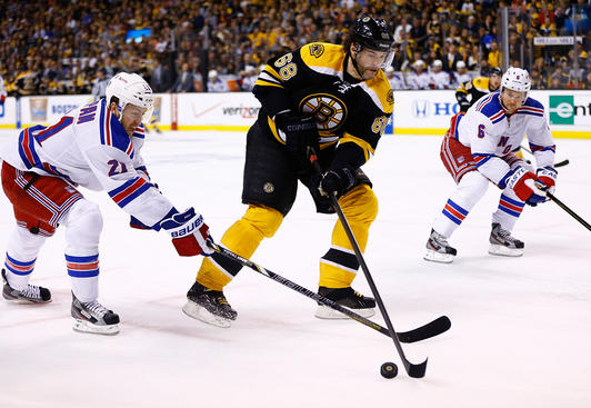 BOSTON, MA - MAY 19: Jaromir Jagr #68 of the Boston Bruins skates with the puck past Derek Stepan #21 of the New York Rangers in Game Two of the Eastern Conference Semifinals during the 2013 NHL Stanley Cup Playoffs on May 19, 2013 at TD Garden in Boston, Massachusetts. (Photo by Jared Wickerham/Getty Images)
