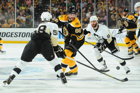 BOSTON, MA - JUNE 5 : Jaromir Jagr #68 of the Boston Bruins skates with the puck against the Pittsburgh Penguins in Game Three of the Eastern Conference Final during the 2013 NHL Stanley Cup Playoffs at TD Garden on June 5, 2013 in Boston, Massachusetts. (Photo by Steve Babineau/NHLI via Getty Images)