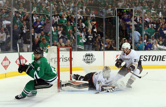 DALLAS, TX - APRIL 27:  Trevor Daley #6 of the Dallas Stars celebrates his goal against Frederik Andersen #31 of the Anaheim Ducks in the first period during Game Six of the First Round of the 2014 NHL Stanley Cup Playoffs at American Airlines Center on April 27, 2014 in Dallas, Texas.  (Photo by Ronald Martinez/Getty Images)