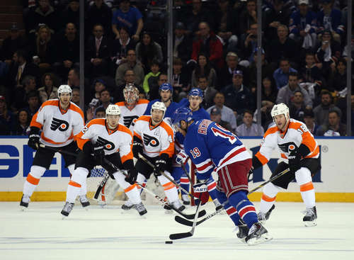NEW YORK, NY - APRIL 30: The Philadelphia Flyers line up to block a shot by Brad Richards #19 of the New York Rangers during the first period in Game Seven of the First Round of the 2014 NHL Stanley Cup Playoffs at Madison Square Garden on April 30, 2014 in New York City.  (Photo by Bruce Bennett/Getty Images)