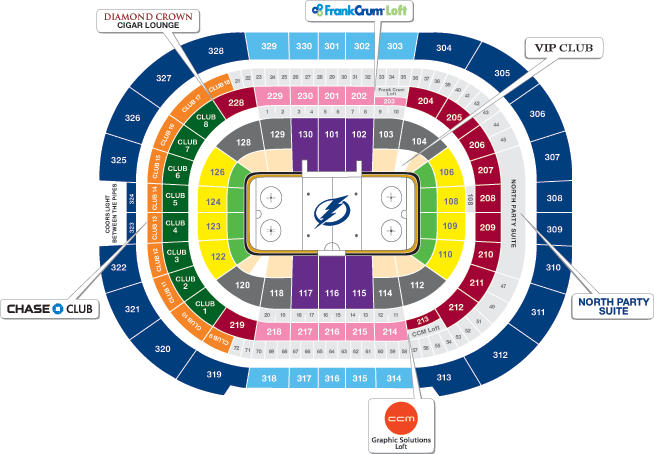 2012-2013 Tampa Bay Times Forum Seating Chart