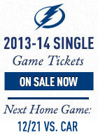 Tampa Bay Lightning Single Game Tickets Now On Sale for the 2013-14 Season. Next home game - November 29, 2013 vs. Pittsburgh Penguins