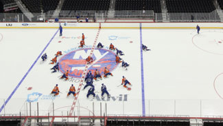 The Islanders take part in their first practice at Barclays Center in Brooklyn.