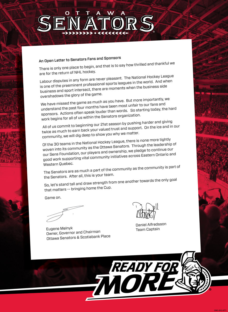 An open letter to Senators fans and sponsors