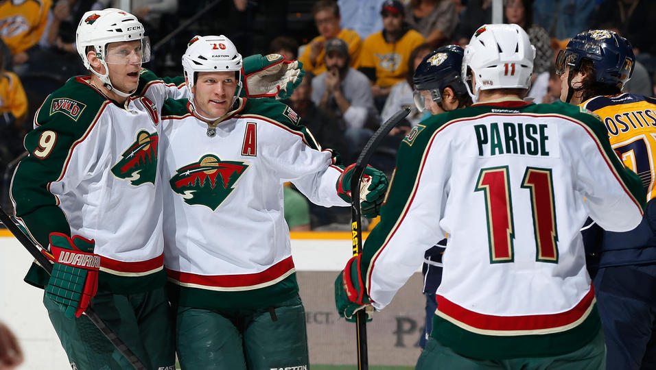 Mikko Koivu, Ryan Suter and Zach Parise